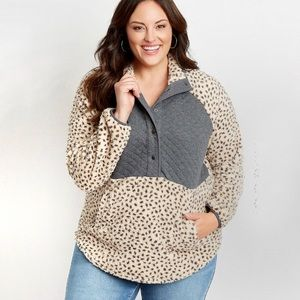 🎄🎁LARGE LEOPARD QUILTED SHERPA PULLOVER